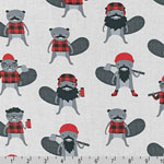 Burly Beavers Lumberjacks on Gray Fabric