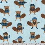 Burly Beavers Lumberjacks on Blue Fabric