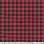 Burly Beavers Plaid Print on Red Fabric