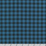 Burly Beavers Plaid Print on Blue Fabric