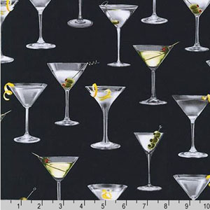 Cheers Martini Glasses Black Fabric
