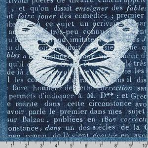 Botanical Beauty Panel Indigo Blue Fabric