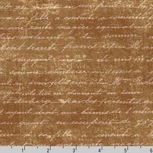 Botanical Beauty Handwriting Natural Brown Fabric
