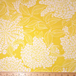 Mystic Canvas Floral Print Fabric Curry Yellow