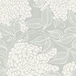 Mystic Canvas Floral Print Fabric Coastal Fog Grey