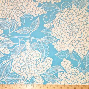 Mystic Canvas Floral Print Fabric Azure Blue