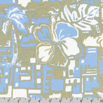 Catalina Knit Print Tropical Palm Print Blue Fabric