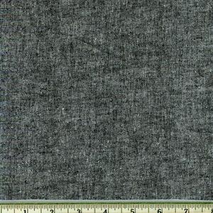 Chambray Stretch Linen Black Fabric