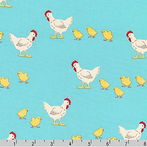 What Would the Animals Say Chicken Fabric Blue