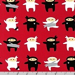 I am Ninja Small Ninjas on Red Fabric