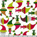 Jingle 2 Christmas Elves and Santas White Fabric