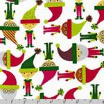 Jingle 2 Christmas Elves and Santas White Fabric