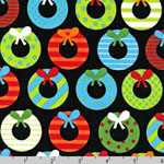 Jingle 2 Christmas Wreaths Black Fabric