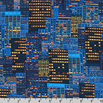 Cityscapes City Buildings Blue Yellow Fabric