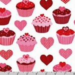 Confections Heart Cupcake Pink Fabric