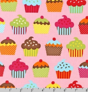 Confections Cupcakes on Pink Caleb Gray Fabric
