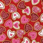 Confections Heart Sugar Cookies on Red Valentines Fabric