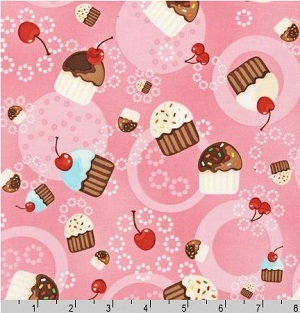 Confections Tossed Cupcakes Pink Fabric