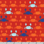 Don't be Crabby Crab Fabric Orange Red