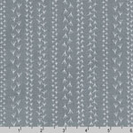 Doodle Pop Bird Footprints Gray Fabric