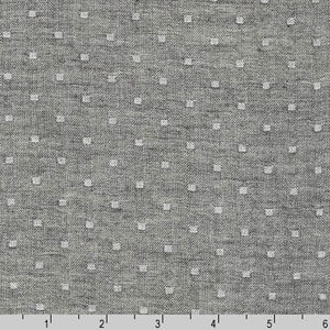 Double Gauze Chambray Dobby Dot Fabric Charcoal
