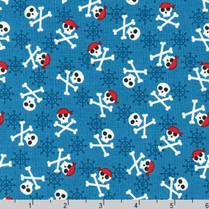 Fabulous Foxes Pirate Skull and Crossbones Blue Fabric