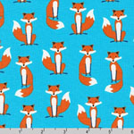 Fabulous Foxes Fox Blue Fabric
