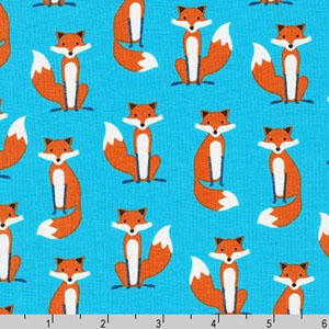 Fabulous Foxes Fox Blue Fabric