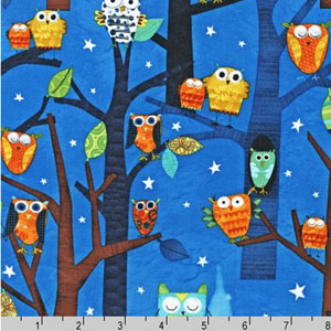 Forest Fun Owls Blue Fabric