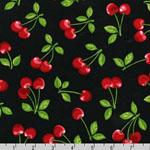 Fruit Basket Cherry on Black Fabric