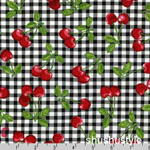 Fruit Basket Cherry Onyx Gingham Fabric