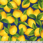 Fresh Lemons Navy Fabric