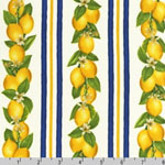 Fresh Lemons Navy Stripes Cream Fabric