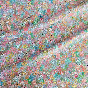 Happy Place Jersey Knit Fabric Floral Paris Blue