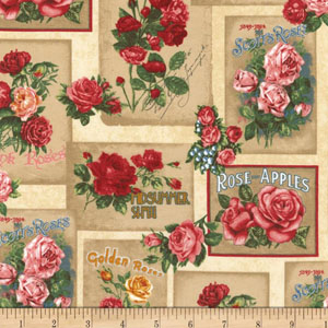 Heirloom Diary Rose Labels Antique Fabric