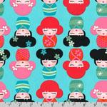 Hello Tokyo Kokeshi Dolls Blue Fabric