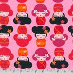 Hello Tokyo Kokeshi Dolls Pink Fabric