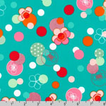 Hello Tokyo Japanese Flowers Dots Teal Blue Fabric