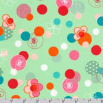Hello Tokyo Japanese Flowers Dots Green Fabric
