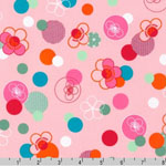 Hello Tokyo Japanese Flowers Dots Pink Fabric