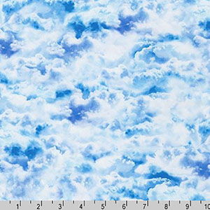 Imaginings Clouds Blue and White Fabric
