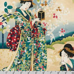 Imperial Collection Panel Geisha Teal Vintage Fabric