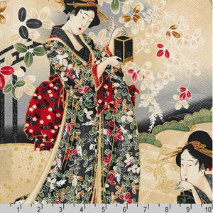 Imperial Collection Panel Geisha Crimson Red  Fabric