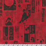 Imperial Collection Japanese Newspaper Crimson Red Fabric