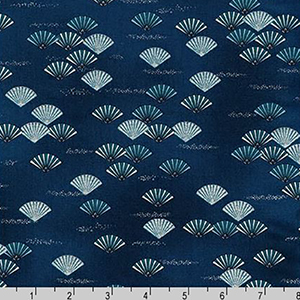 Imperial Collection Fans Indigo Blue Fabric