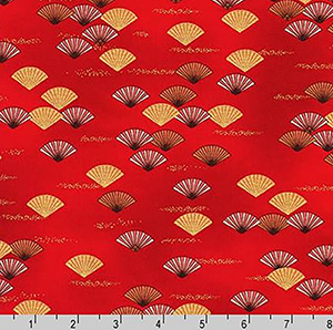 Imperial Collection Fans Crimson Red Fabric