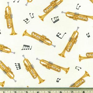 In Tune Trumpets Cream Fabric