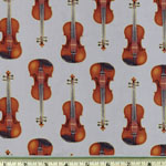 In Tune Violins Gray Fabric