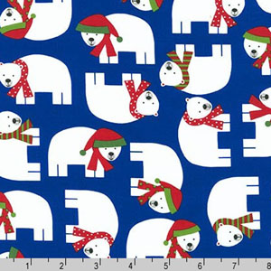 Jingle 3 Polar Bears Royal Blue Fabric
