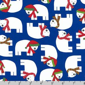 Jingle 3 Polar Bears Royal Blue Fabric